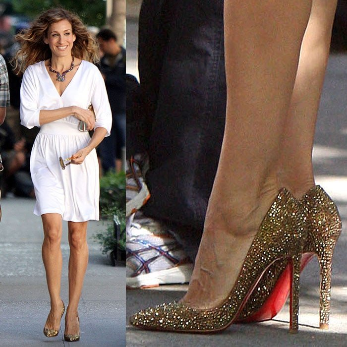 "Sarah Jessica Parker as Carrie Bradshaw wearing Christian Loboutin ""Pigalle"" gold strass pumps while filming ""Sex and The City 2"" in Manhattan, New York, on September 1, 2009."
