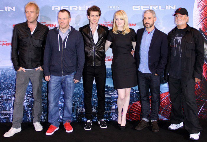 """Rhys Ifans, director Marc Webb, Andrew Garfield, Emma Stone, Matt Tolmach, and Avi Arad attend the photo call for """"The Amazing Spider-Man"""""""