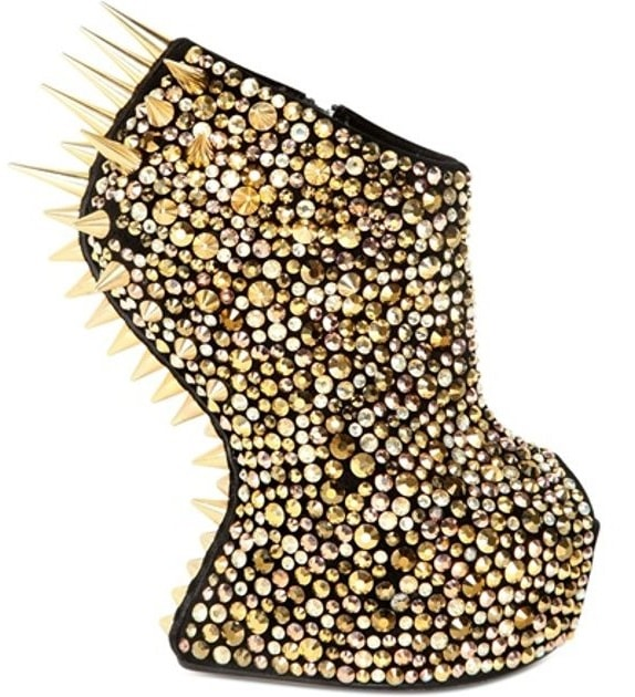 Suede spiked sculptural wedge