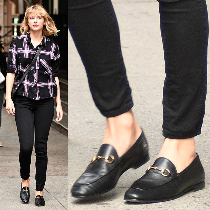 "Taylor Swift in sensible Gucci ""Brixton"" loafers while leaving her Tribeca apartment in New York City on September 28, 2016."
