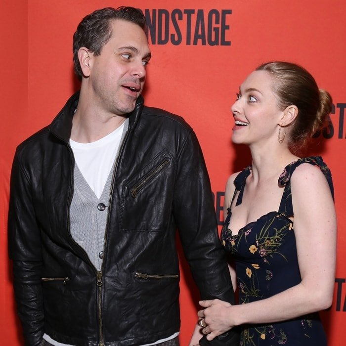Thomas Sadoski and wife Amanda Seyfried pose at The Second Stage Theater 40th Birthday Gala
