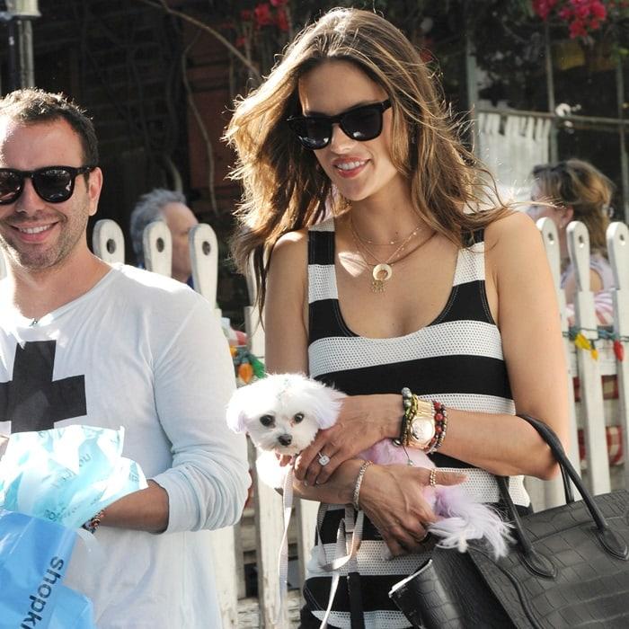 Alessandra Ambrosio goesshopping with her dog at Kitson