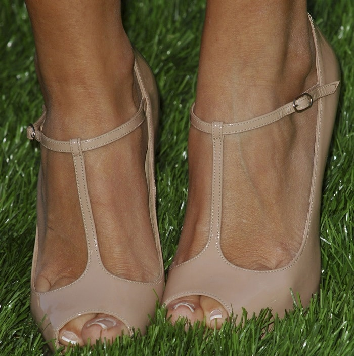 Ashley Tisdale's hot feet in Christian Louboutin t-bar Mary Jane pumps