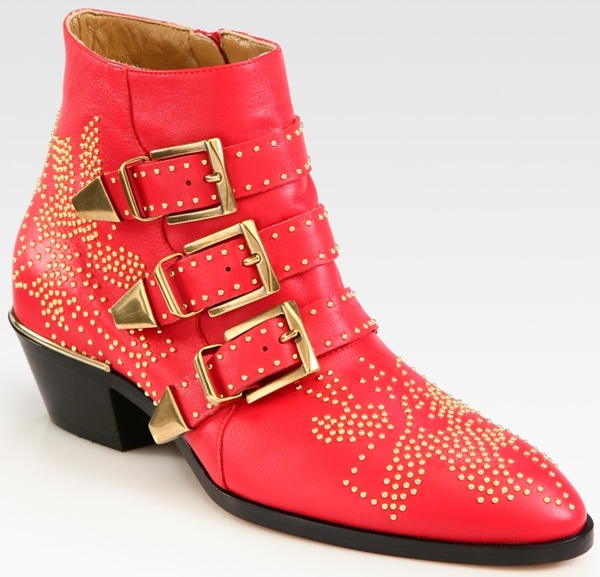 Chloe Studded Leather Buckle Ankle Boot