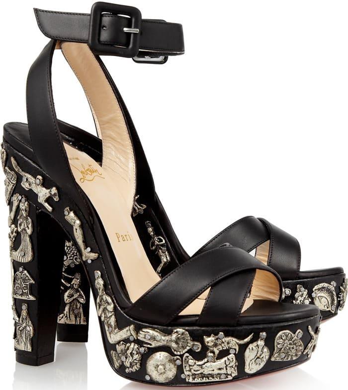 Christian Louboutin Exvota 140 metal-appliquéd leather sandals