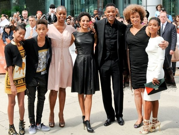 Willo Smith, Jaden Smith, Sidra Smith, Shola Lynch, Will Smith, Angela Davis, and Jada Pinkett Smith attend the 'Free Angela & All Political Prisoners' premiere during the 2012 Toronto International Film Festival at Roy Thomson Hall on September 9, 2012 in Toronto, Canada