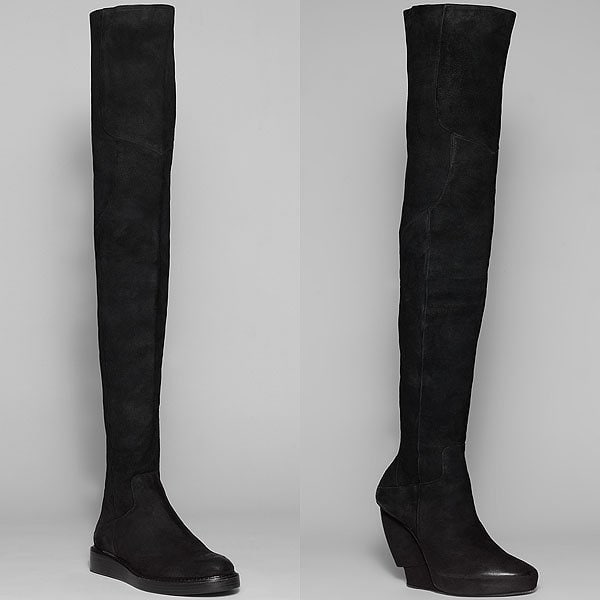 Helmut Lang burnished suede flat boot and burnished suede tall boot