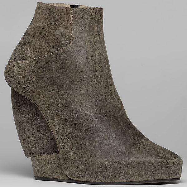 Helmut Lang burnished suede wedge bootie