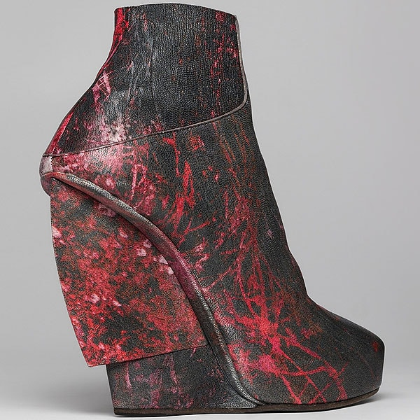 Helmut Lang midnight floral leather wedge bootie