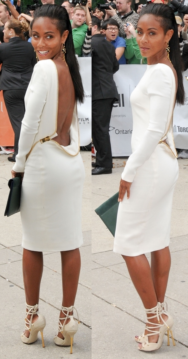 Jada Pinkett Smith donned a form-fitting white dress with an open back by Tom Ford