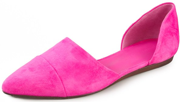 Velvety, vibrant suede puts a bold twist on Jenni Kayne's signature d'orsay flats, which are finished with a seamed, pointed toe