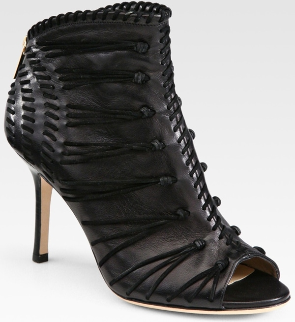 Jimmy Choo Gio Leather and Suede Stitch Ankle Booties