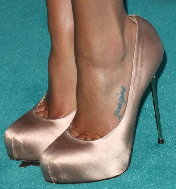 Lea Michele's 'Imagine' foot tattoo in blush satin Marcella pin-heel platform pumps by Brian Atwood