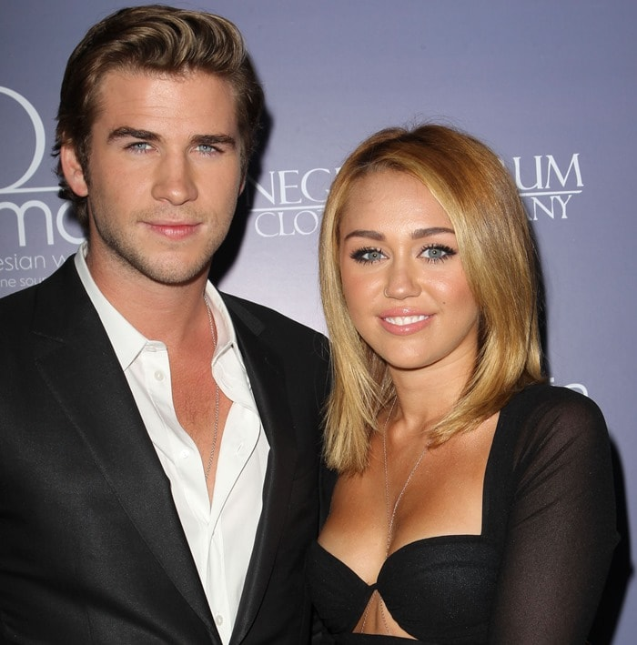 Liam Hemsworth and Miley Cyrus making their first public appearance as a couple since announcing their engagement
