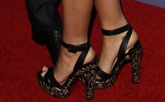 Miley Cyrus wearing Christian Louboutin Exvota sandals
