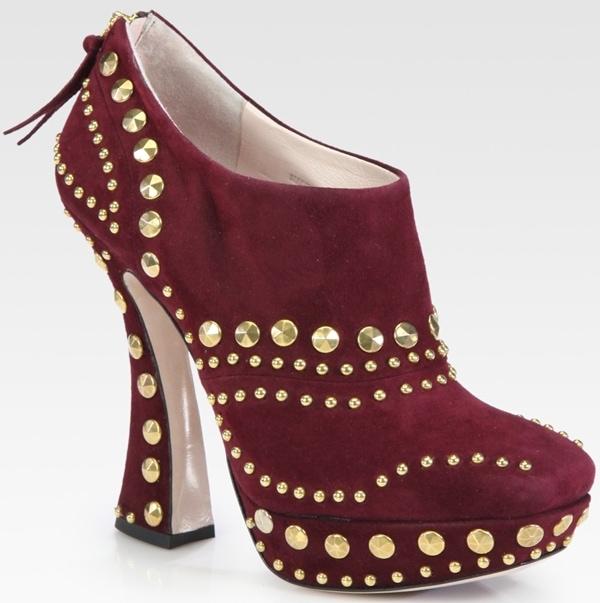 Miu Miu Suede Stud Curved Heel Ankle Boot