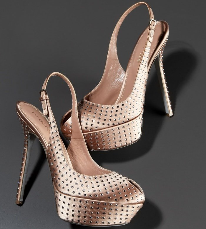 Sergio Rossi Pink Cachet Crystallized Slingback