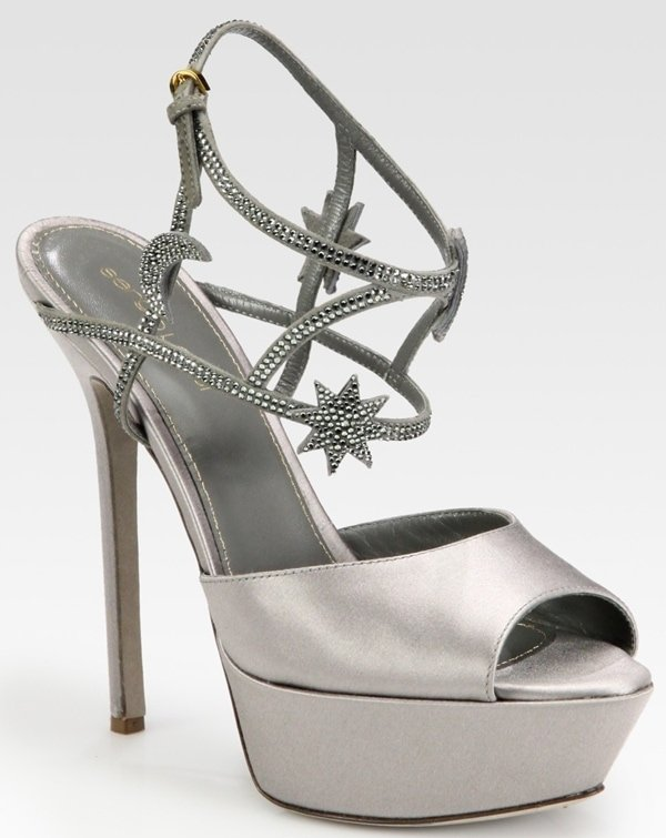 Sergio Rossi Satin Crystal Coated Star and Moon Platform Sandals