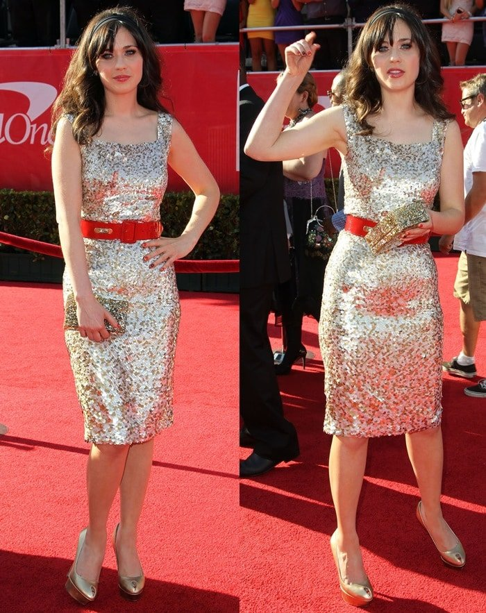 Zooey Deschanel flaunts her sexy legs in a metallic gold and silver sequined dress