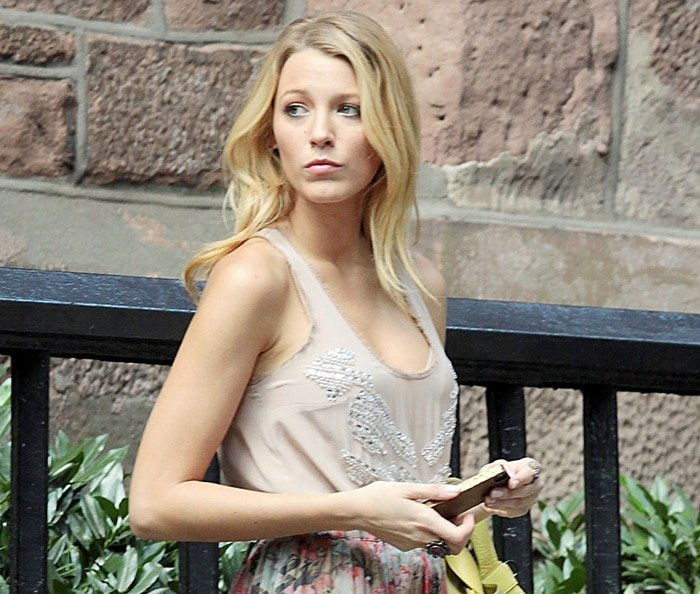 Blake Lively wears a beaded tank top
