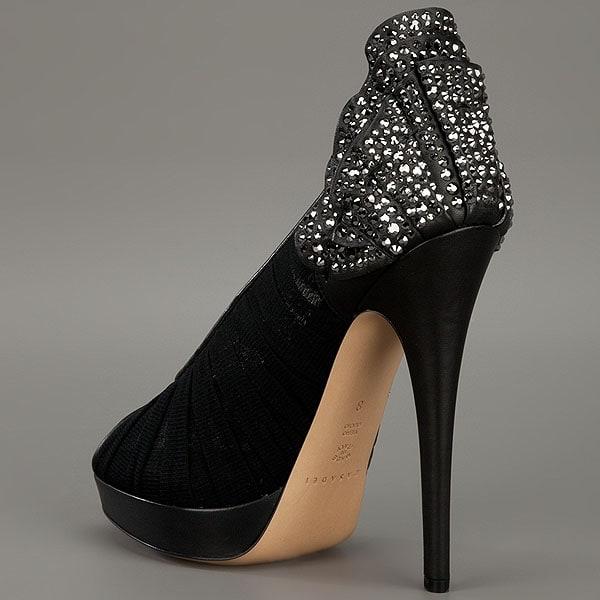 Casadei Crystallized Petal Heel Pleated Pump
