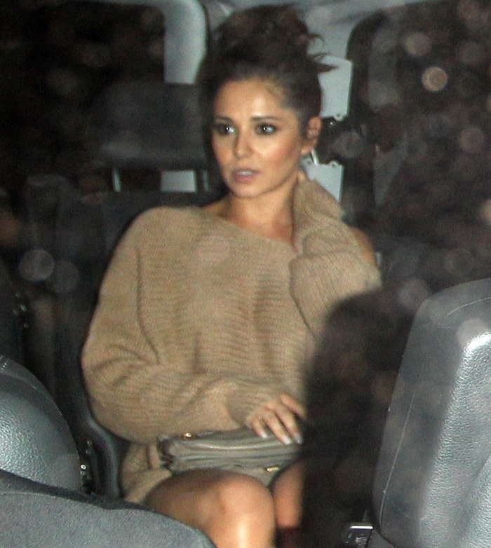 Cheryl Cole leaves Scott's restaurant in Mayfair after having dinner with Will.i.am in London on August 11, 2012