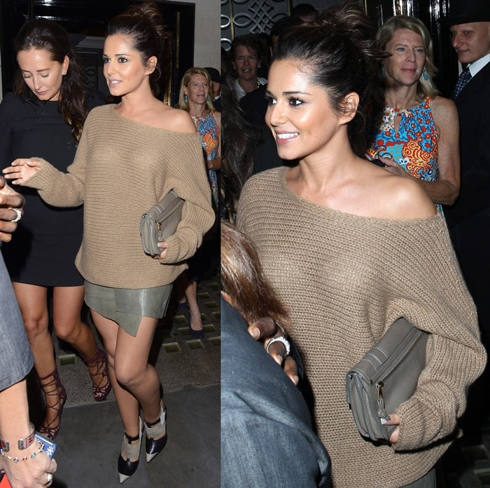 Cheryl Cole wearing a pair of cool multi-toned Narciso Rodriguez pointy toe bootie shoes
