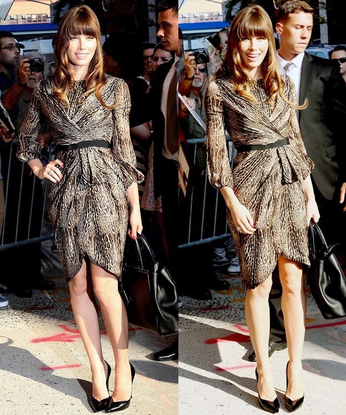Jessica Biel flaunts her toned legs inan animal-print silk-charmeuse dress from Giambattista Valli