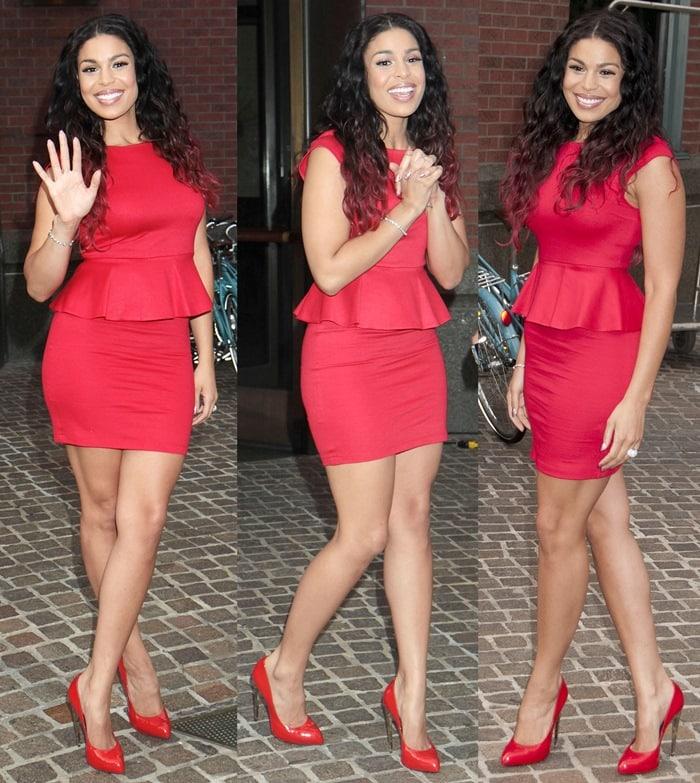 Jordin Sparks flaunts her slimmer figure ina red Alice + Olivia peplum dress