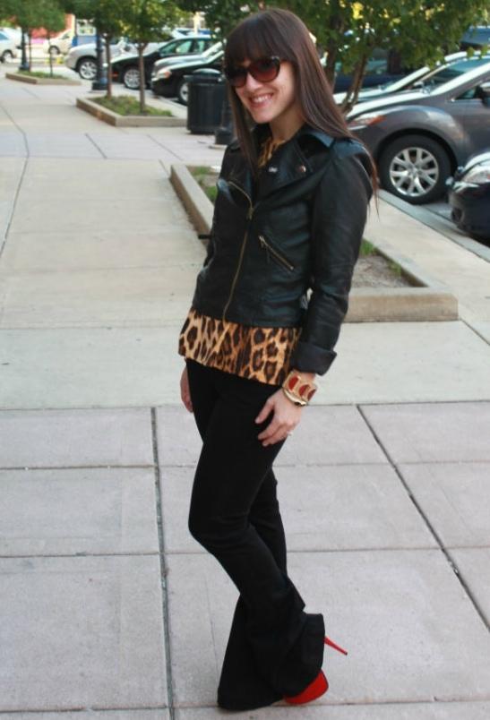 Lisa rockingblack bell-bottoms and super cool leopard print peplum top