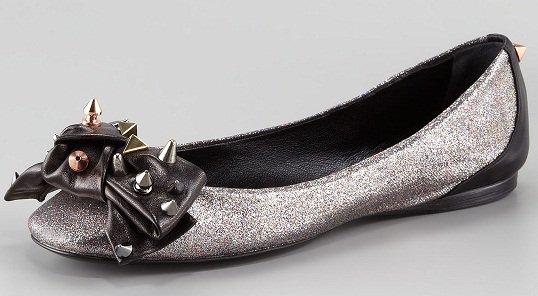Ruthie Davis Ella Glitter Studded Ballerina