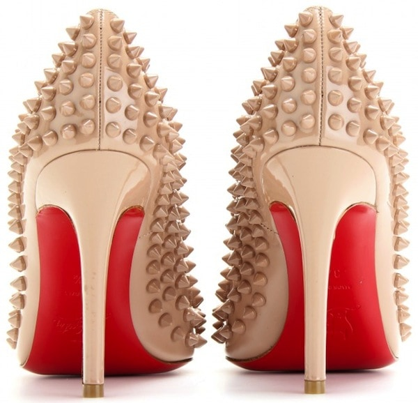 """Christian Louboutin """"Pigalle Spikes"""" Pumps in Nude"""