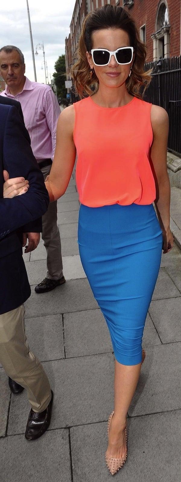 Kate Beckinsale shields her eyes behind a pair of white shades as she strolls through Dublin