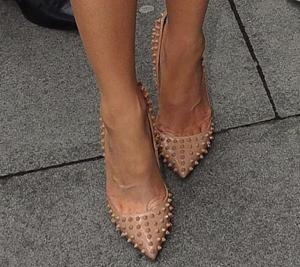 Kate Beckinsale wears a pair of Christian Louboutin pumps on her way to promotional interviews
