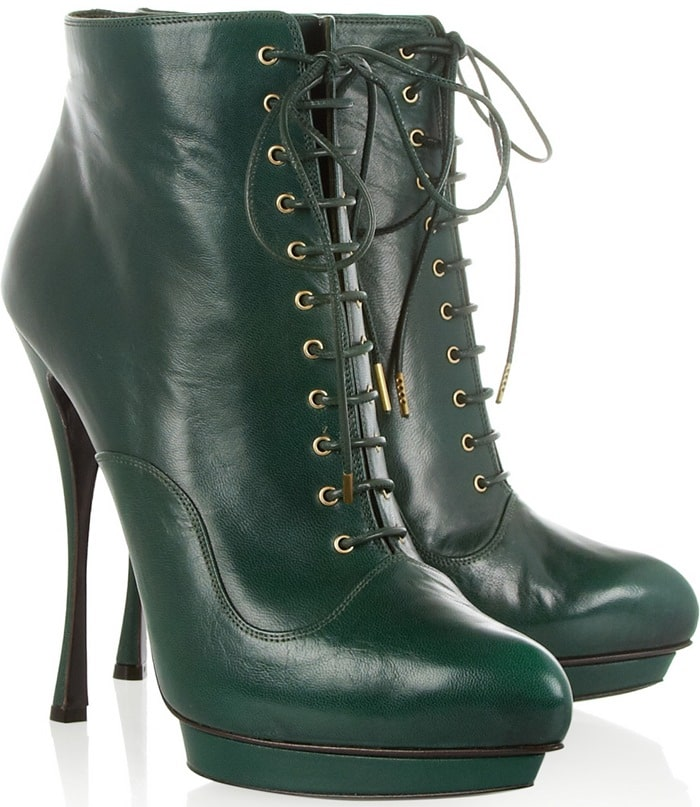 Alexander McQueen Green Lace-Up Leather Ankle Boots