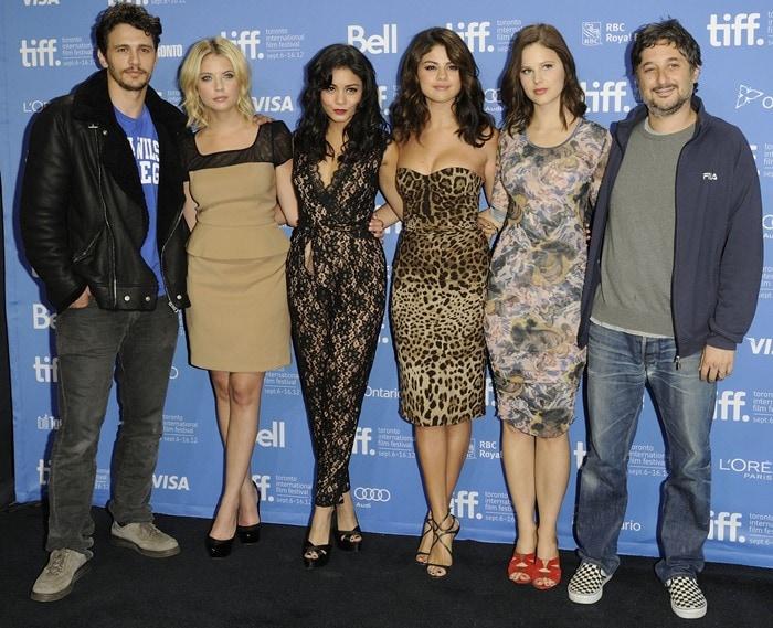 Ashley Benson, Vanessa Hudgens, James Franco, Selena Gomez, and Rachel Korine