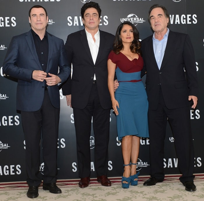 Benicio Del Toro, Oliver Stone, Salma Hayek and John Travolta attend the 'Savages' photo call held at The Mandarin Oriental in London on September 19, 2012