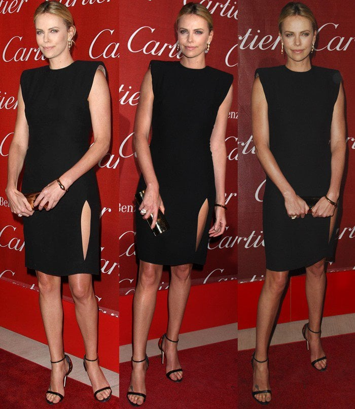Charlize Theron in a Lanvin dress and Giuseppe Zanotti metal heel cup sandals at the 23rd annual Palm Springs International Film Festival Awards Gala held in Los Angeles on January 7, 2012