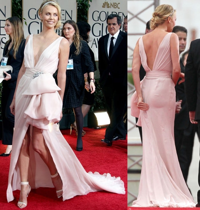 Charlize Theron wears a pair of Givenchy Spring 2012 sandals with a sweet Dior high-low dress while attending the 69th Annual Golden Globe Awards (Golden Globes 2012) held at The Beverly Hilton Hotel in Los Angeles on January 15, 2012