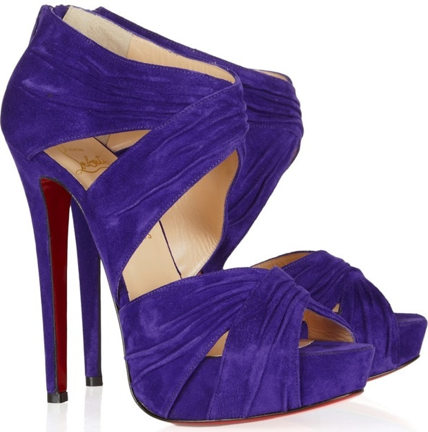 Christian Louboutin Purple Bandra 140 Ruched Suede Sandals