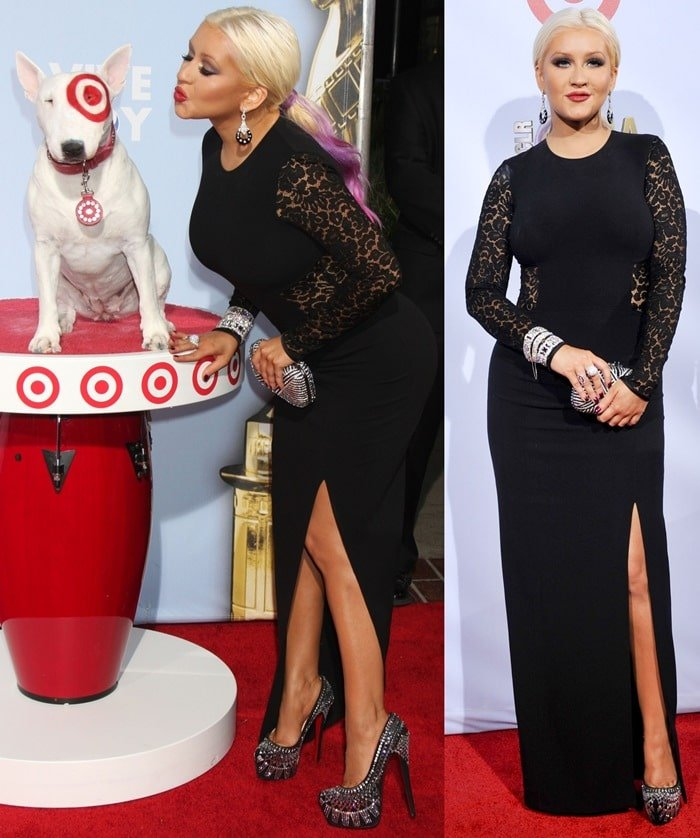 Christina Aguilera ina long figure-hugging black dress from Michael Kors with a daring leg slit that showed off her heels perfectly