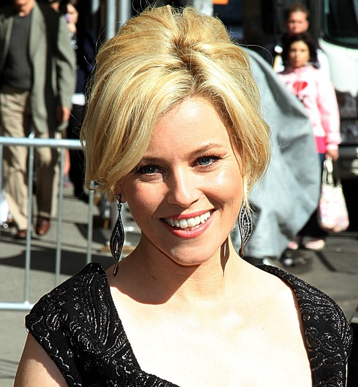 Elizabeth Banks arrives at the Ed Sullivan Theater for 'The Late Show with David Letterman' in New York City on May 10, 2012