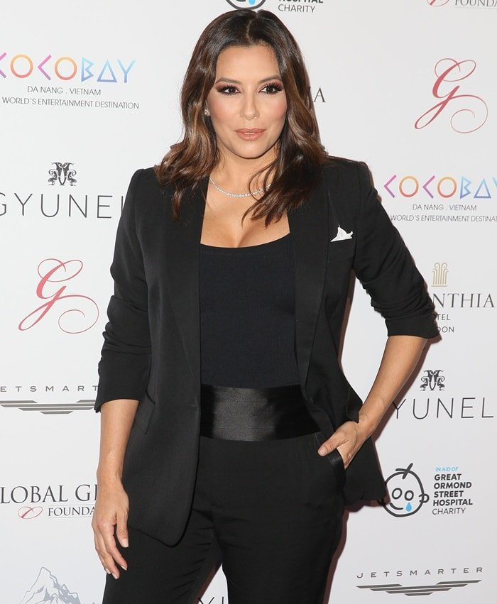 Eva Longoria turned heads in a black suit at the Global Gift Gala in London, England, on November 18, 2017