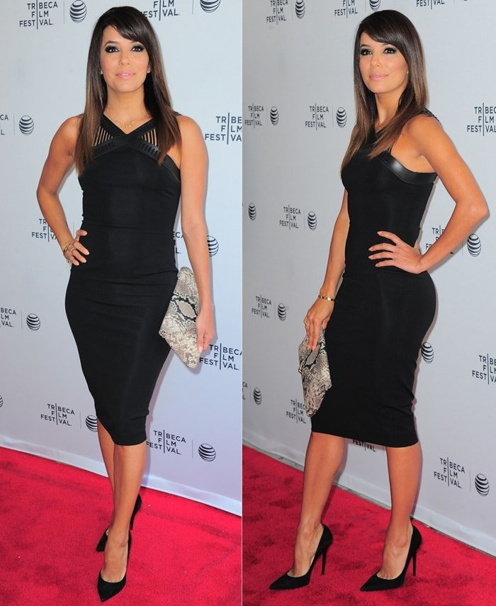 Eva Longoria donned a form-fitting black dress by David Koma while attending the premiere of her new documentary 'Food Chains' during the 2014 Tribeca Film Festival held at the SVA Theater in New York City on April 26, 2014