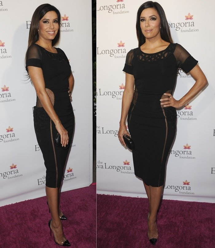 Eva Longoria showed a peek of skin in a sheer black dress by Zuhair Murad while attending the Eva Longoria Foundation Dinner held at Beso in Hollywood on October 9, 2014