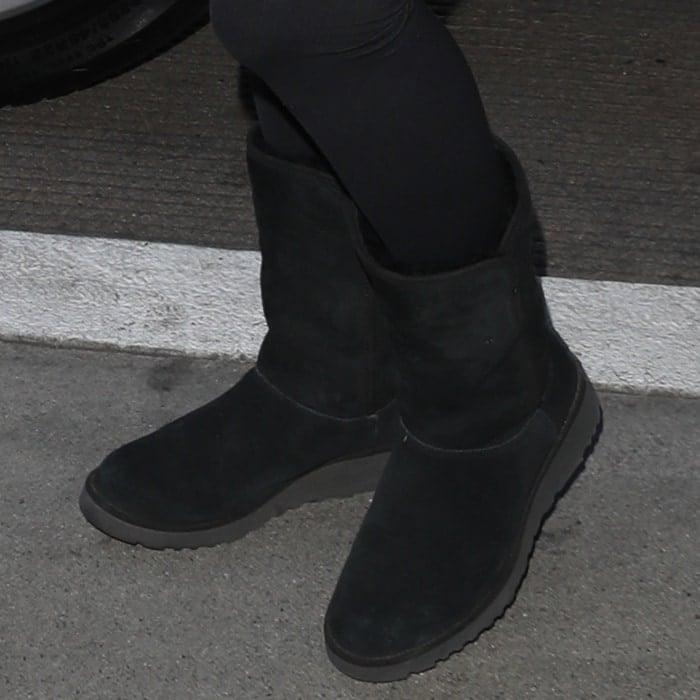 Eva Longoria wearing UGG 'Amie' boots in black
