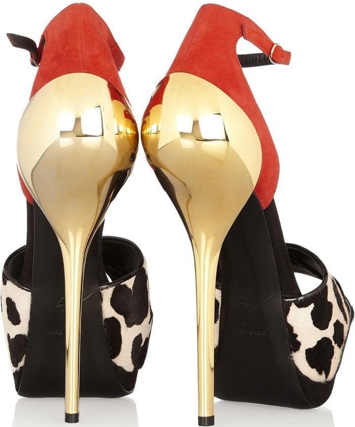 Giuseppe Zanotti Animal Print Calf Hair and Suede Sandals Heels