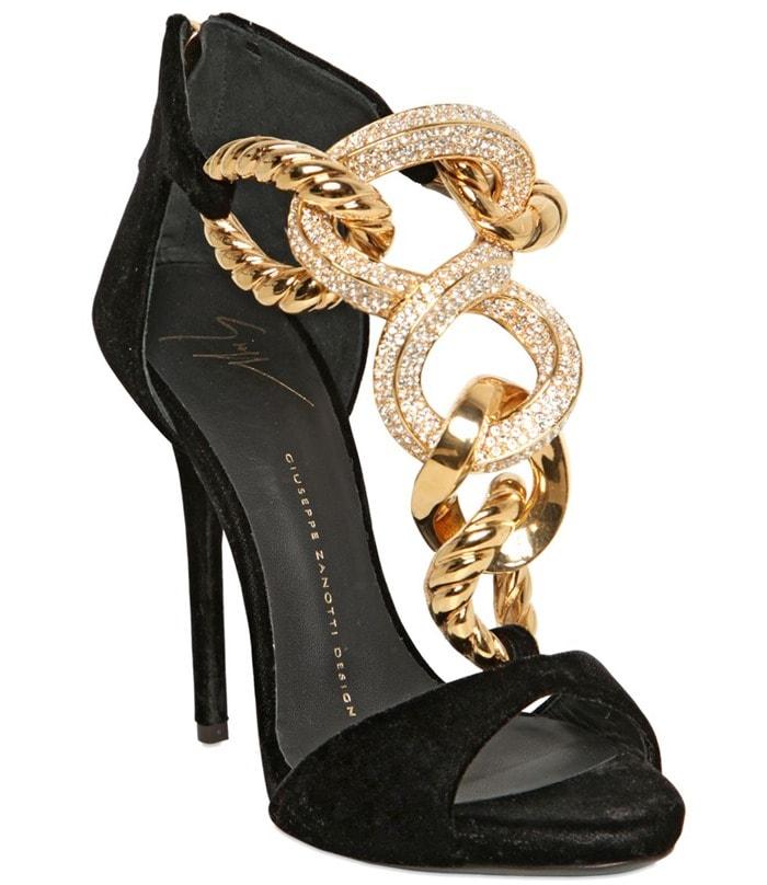 Giuseppe Zanotti Gold 120mm Jeweled Chain Velvet Sandals