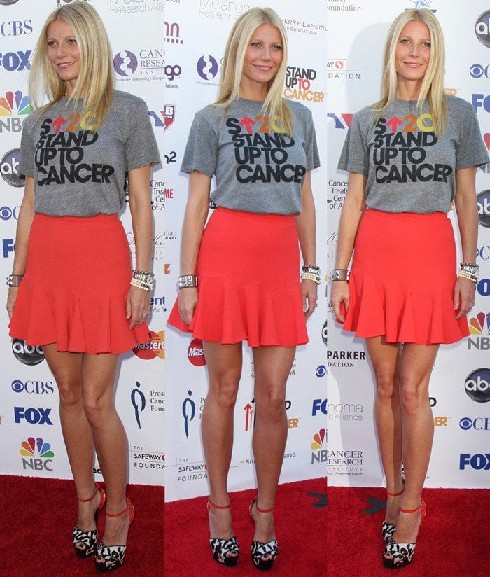 """Gwyneth Paltrow wears a """"Stand Up To Cancer"""" shirt on the red carpet"""