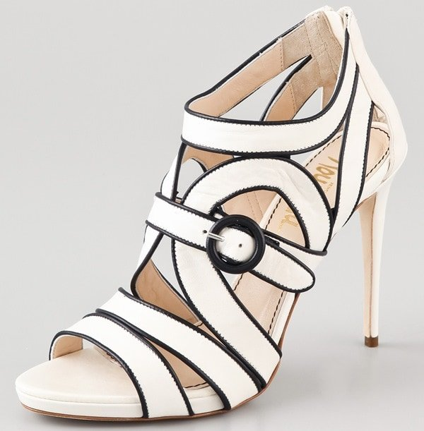 These high-heel leather sandals feature contrast piping and a buckle detail